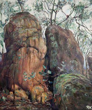 Australische Landschap orange hues van KB Prints