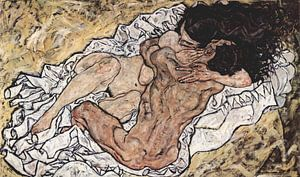 De omhelzing, Egon Schiele - 1917