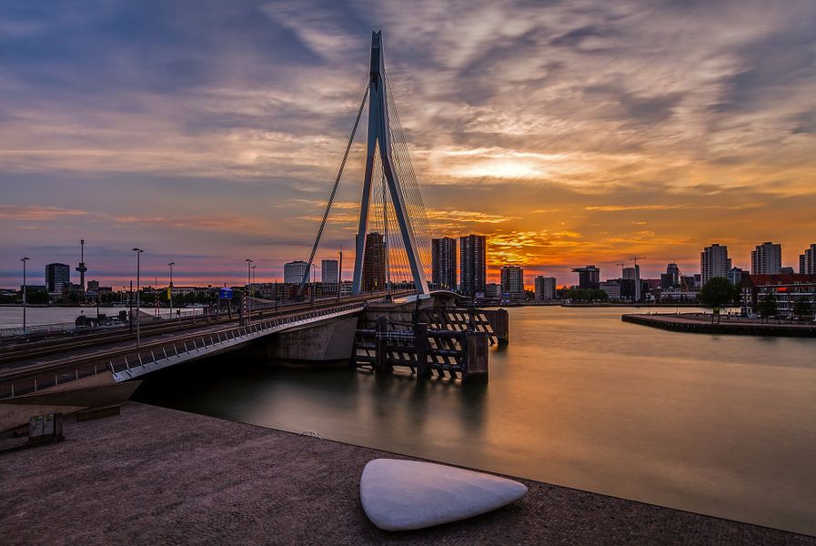 De Erasmusbrug in Rotterdam van MS Fotografie