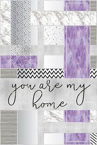 Grafische soort van zilveren Je mijn home   paars