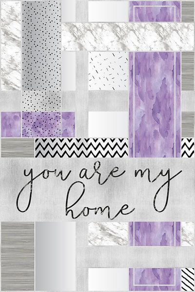 Grafische soort van zilveren Je mijn home   paars van Melanie Viola