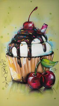 Cupcake schilderij. van