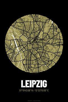 Leipzig – City Map Design Stadtplan Karte (Grunge) von ViaMapia