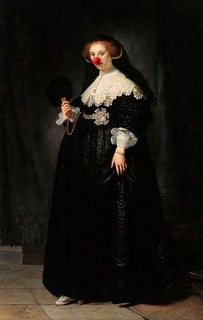 Rembrandt's Portret van Oopjen Coppit met clowns neus van Maarten Knops