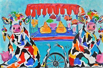 Koeien en ijsjes bij de ijscokar van Kunstenares Mir Mirthe Kolkman van der Klip