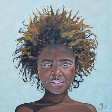 Afrikanisches Mädchen mit Afro-Haarschnitt (Gemälde) von Bianca ter Riet