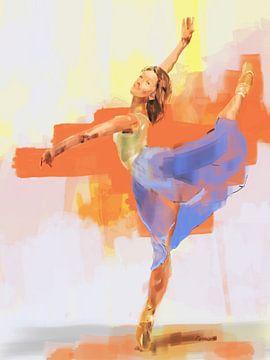 Vrouwelijke danser danst. (Eva)