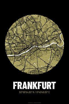 Frankfurt – City Map Design Stadtplan Karte (Grunge) von