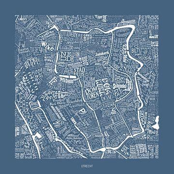 Karte von Utrecht mit Straßennamen und Sehenswürdigkeiten von Vol van Kleur