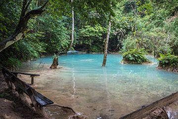 Bankje bij de Kuang Si waterval, Laos van Rietje Bulthuis