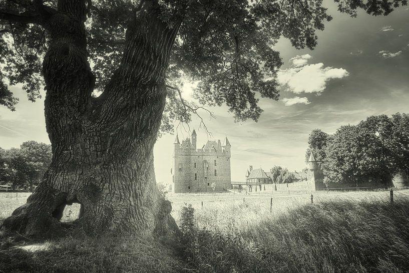 Kasteel Doornenburg Nederland in zwartwit van Hilda Weges