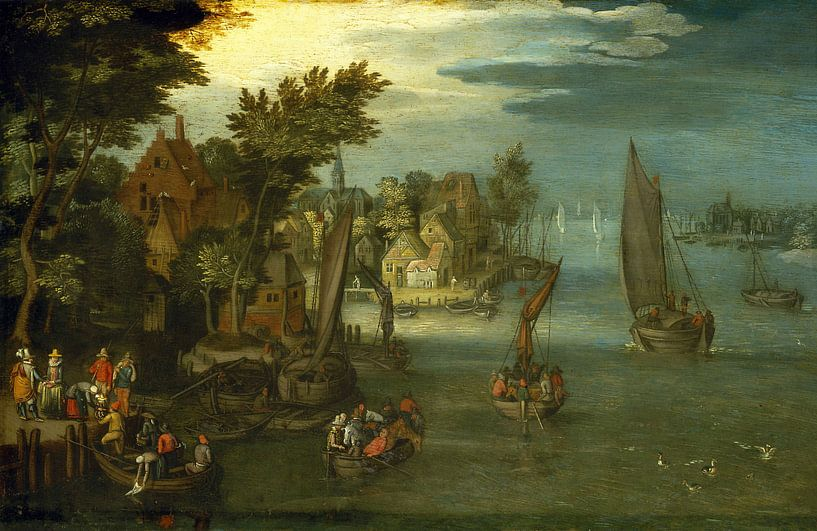 Eine geschäftige Flussszene mit niederländischen Schiffen und einer Fähre, der Kreis um Jan Brueghel von Meesterlijcke Meesters