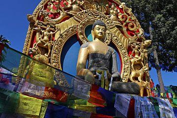 Gebedsvlaggetjes voor een buddha van