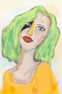 Dessin de portrait fille en vert jaune sur Marianne van der Zee