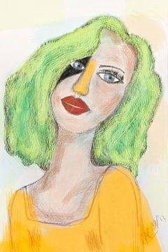 Tekening karikatuur portret van meisje in geel groen van Marianne van der Zee