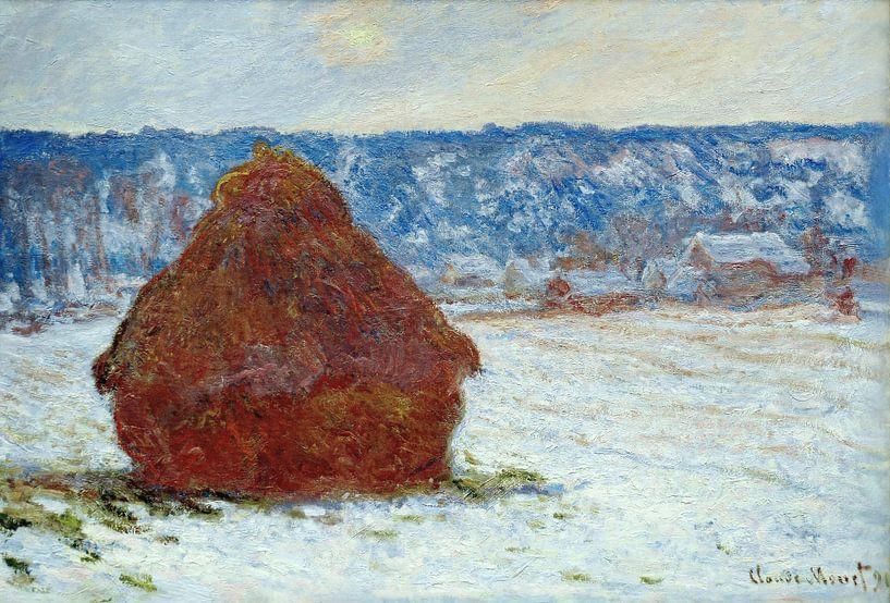Grainstack bei bedecktem Wetter, Schneeeffekt 1891, Claude Monet von The Masters