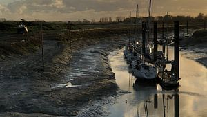 Droogvallen in Le Hourdel, in de baai van de Somme van