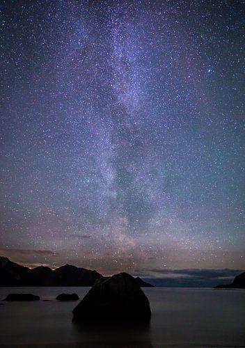 De Melkweg over Haukland Beach van