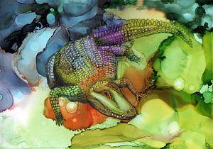 Camouflage krokodil van Jolanda Berbee