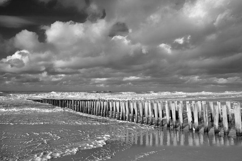 Paalhoofden bij Domburg zwart-wit van Zeeland op Foto