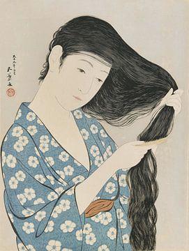 Vrouw die het haar kamt - Hashiguchi Goyo, 1920 van Atelier Liesjes