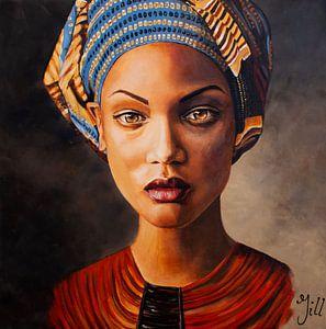 Schilderij dame met doek van