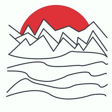 Abstract lijntekening berglandschap met zonsondergang van Maurice Dawson