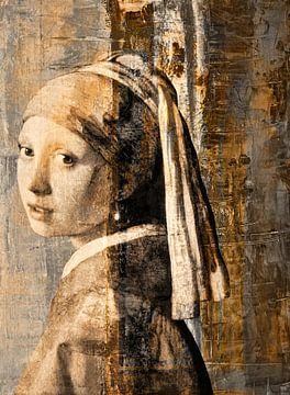 Mädchen mit dem Perlenohrgehänge - Collage von