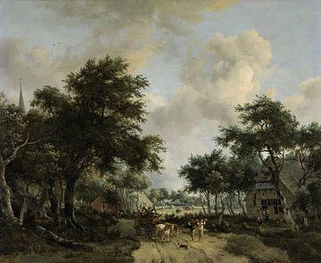 Boslandschap met een vrolijk gezelschap in een wagen, Meindert Hobbema van