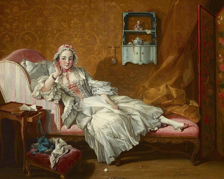 Eine Dame auf ihrem Tagesbett, François Boucher von Meesterlijcke Meesters