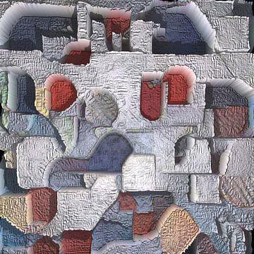 Abstrakt in Rot-Blau-Grau-Tönen von Maurice Dawson