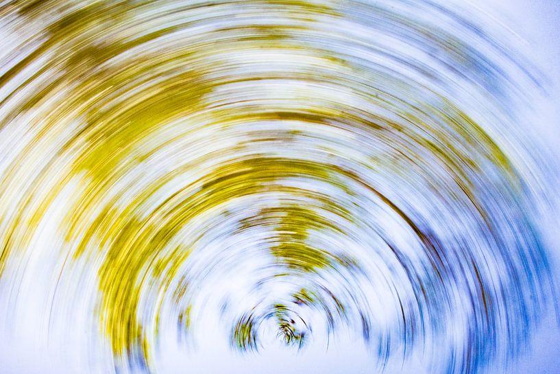 daytrails - zon - boom - draaien - abstracte kunst - groen - blauw van Sven Van Santvliet
