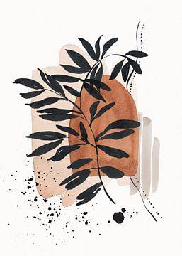 Abstracte Botanische Aquarel Wabi-sabi Kunst van Diana van Tankeren