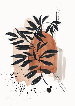Abstrakt Botanisch Aquarell Wabi-sabi Kunst von Diana van Tankeren