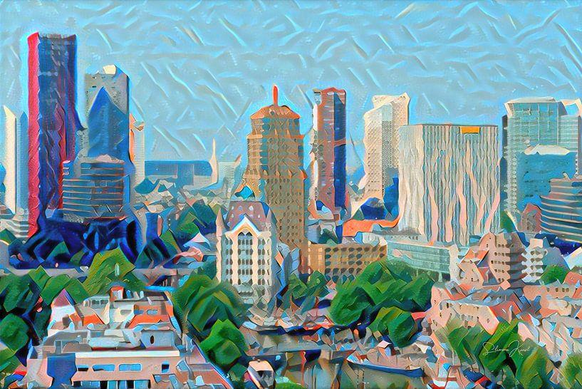 Kunstwerk Rotterdam: Skyline van Rotterdam geschilderd door algoritme van Slimme Kunst.nl