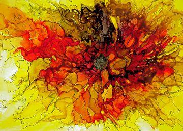 Zonnebloem in rood en  geel. van Ineke de Rijk