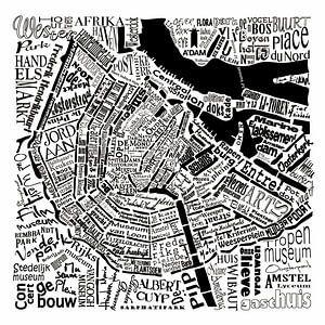 Amsterdam,  typografische plattegrond met A'dam toren van