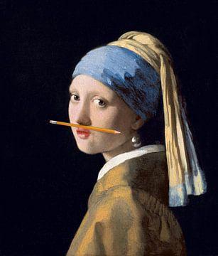 Meisje met de Parel met potlood onder de neus