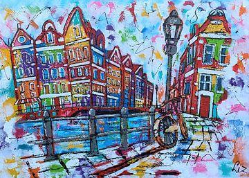 Kanal mit Fahrrad von Vrolijk Schilderij