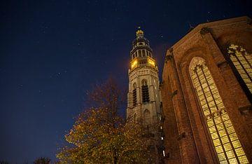 Lange Jan en de Koorkerk bij nacht van