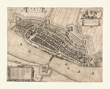 Kaart van het oude Kampen van ca 1649, met wit kader van Gert Hilbink