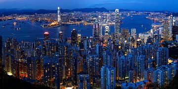 Skyline van Hong Kong in de avond