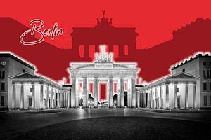 BERLIJN, de Brandenburger Tor   Grafische Kunst   rood