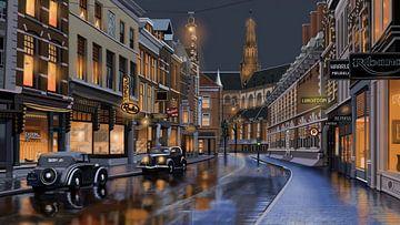 Haarlem Zijlstraat nach dem Regen von Linda van Kleef
