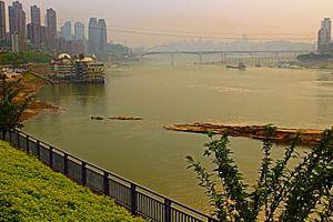 Un salon de thé avec une vue sur la Chine de Chongqing