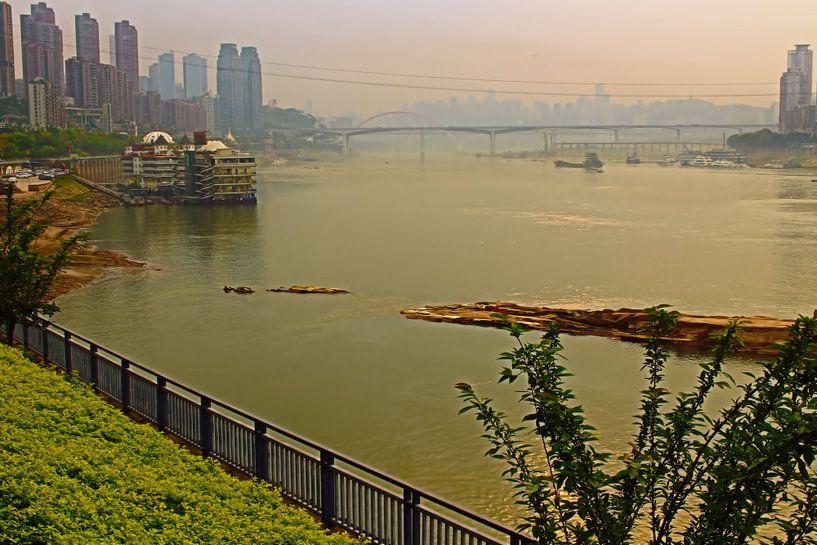 Un salon de thé avec une vue sur la Chine de Chongqing sur Loretta's Art