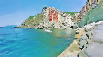 Cinque Terre - De Rust bij Riomaggiore  - Italië - Schilderij