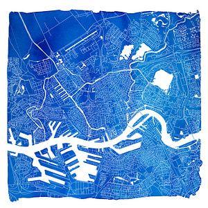 Rotterdam in Kaart - Blauwe Aquarel Vierkant - witte kader