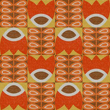 Retro jaren 70 vintage geïnspireerd patroon met  bloemen en bladeren  in warm geel, oranje en bruin. van Dina Dankers