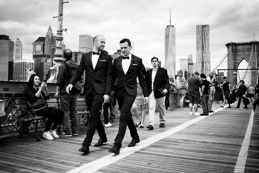 New York, tuxedo on the Brooklyn Bridge.